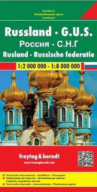 Oroszország és a környező államok autótérképe turista információkkal, településjegyzékkel