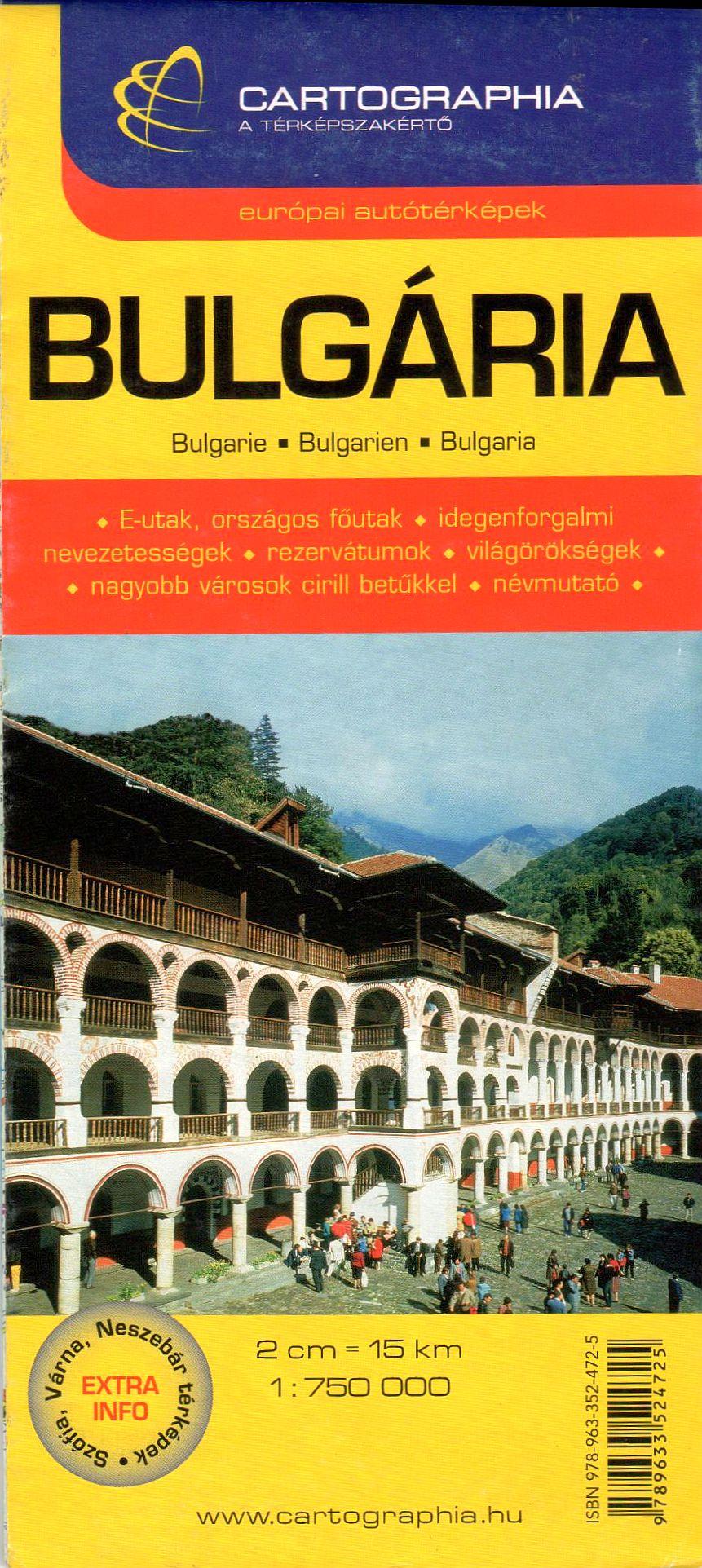 Bulgária részletes autótérképe turista információkkal, latin betűs névrajzzal, névmutatóval, Szófia, Várna, Neszebár melléktérképpe