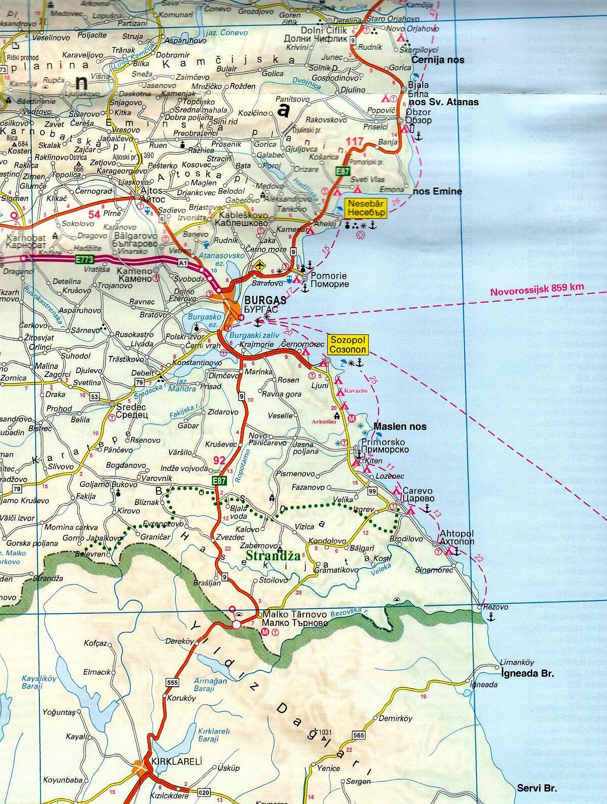 A Bulgária térkép mintakivágata