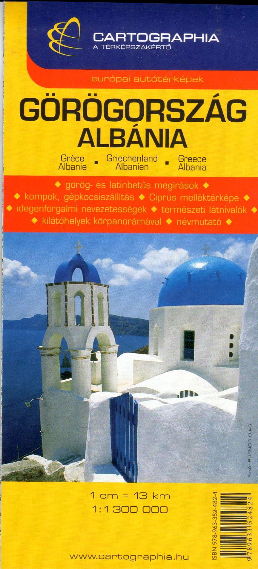Görögország, Albánia autótérképe turista információkkal, névjegyzékkel, latin- és görög betűs városnevekkel és Ciprus melléktérképpel