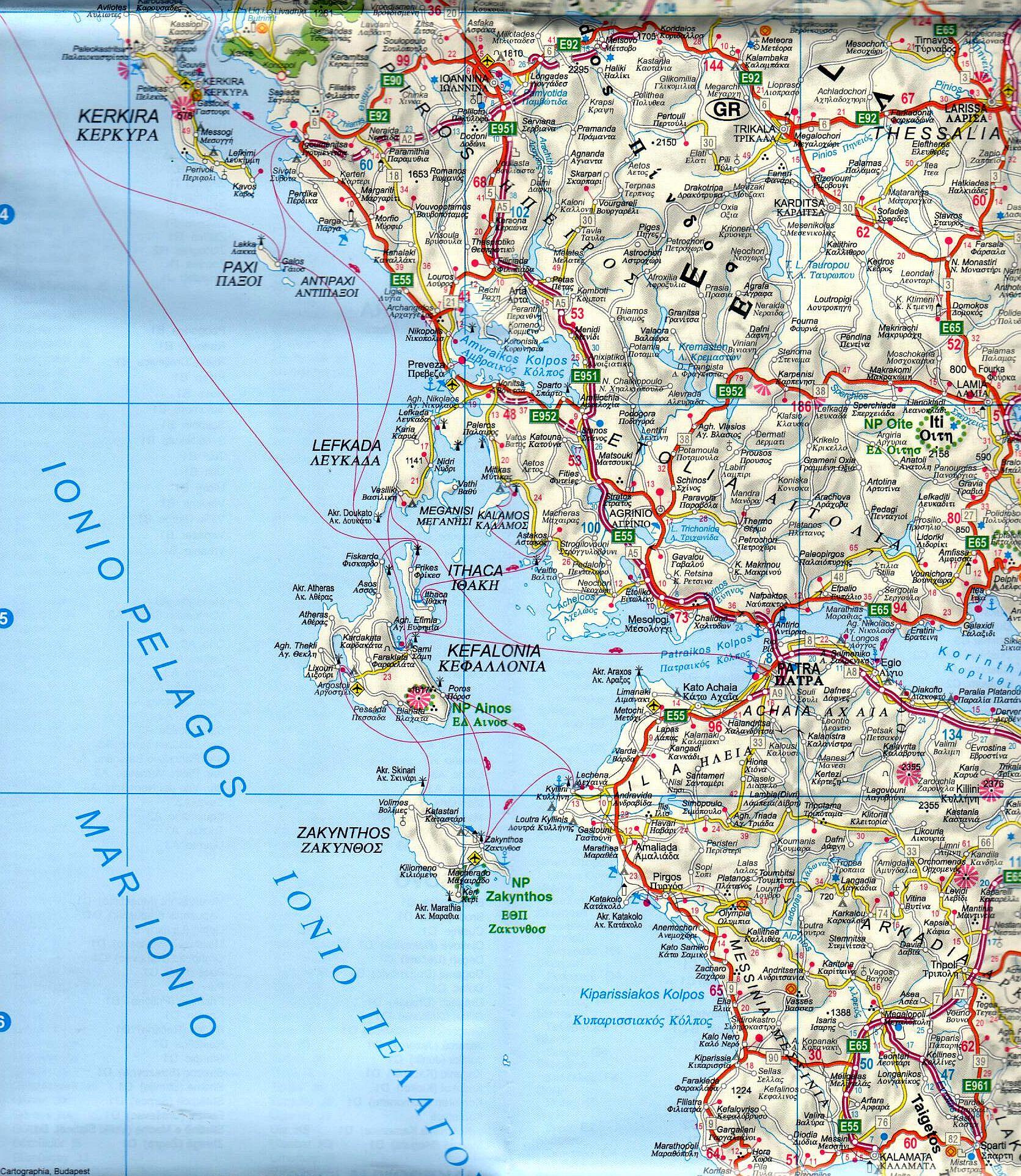 A Görögország, Albánia térkép mintakivágata