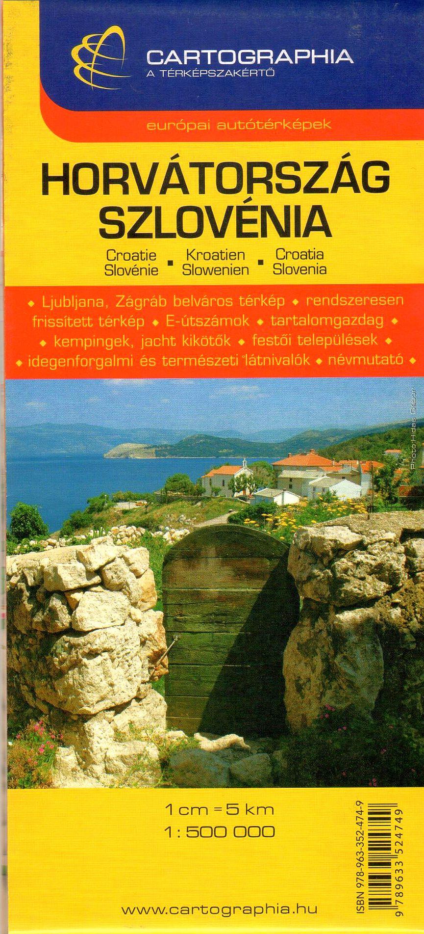 Szlovénia, Horvátország autótérképe turista információkkal, névmutatóval, Zágráb és Ljubljana várostérképpel