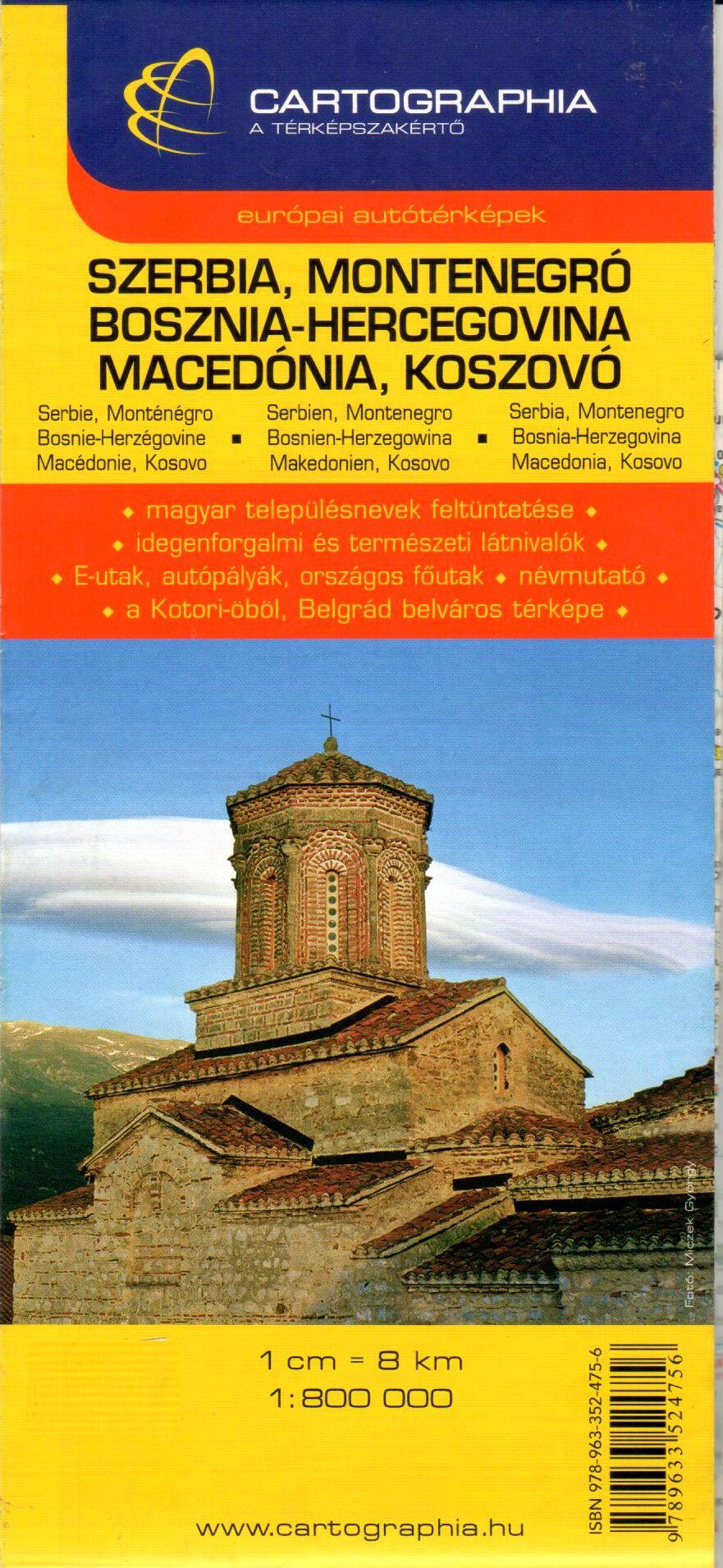 Szerbia, Montenegró, Észak-Macedónia, Koszovó, Bosznia-Hercegovina autótérképe turista információkkal, névmutatóval