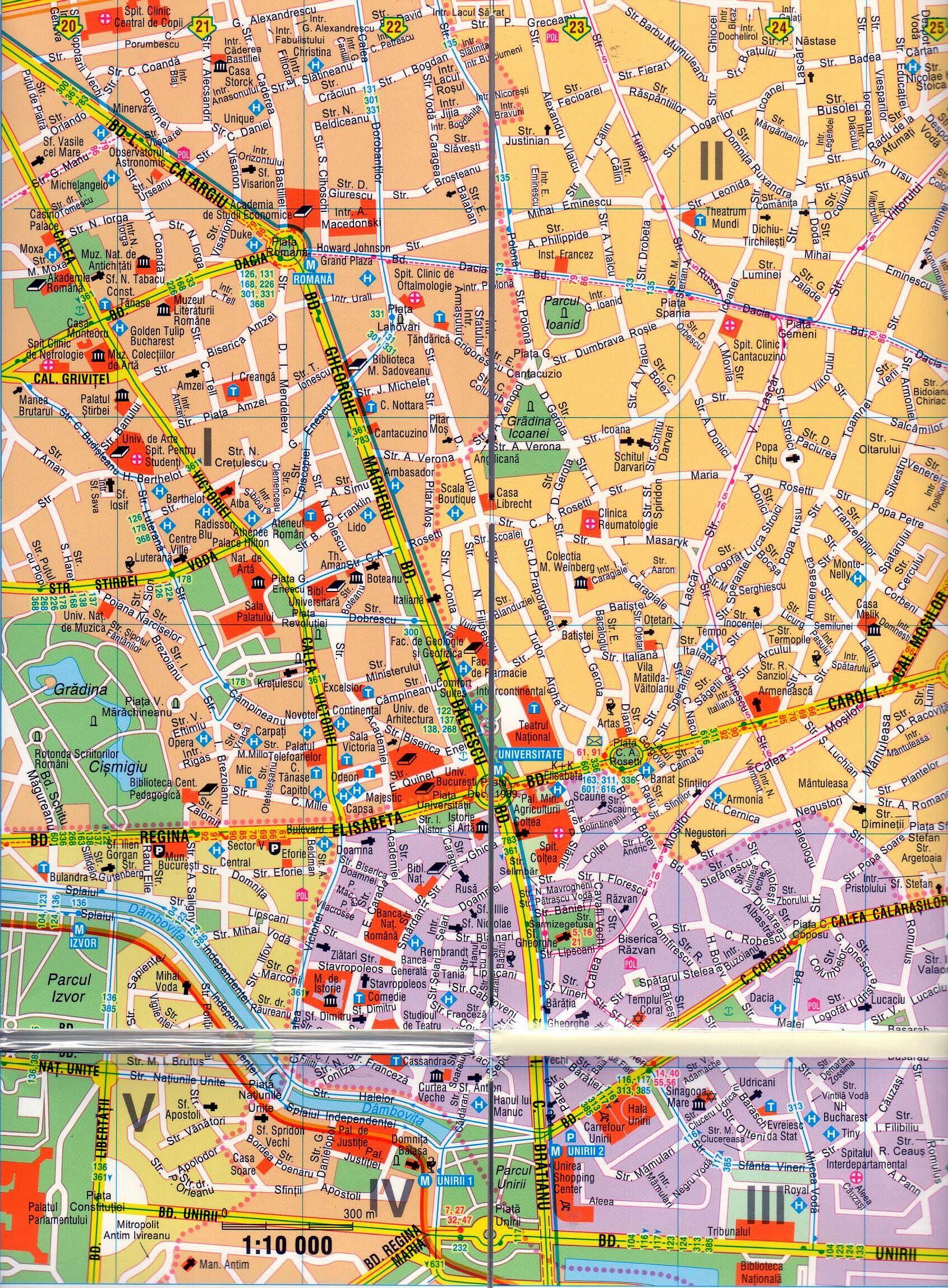 Bukarest belváros 1:10.000 mintakivágat