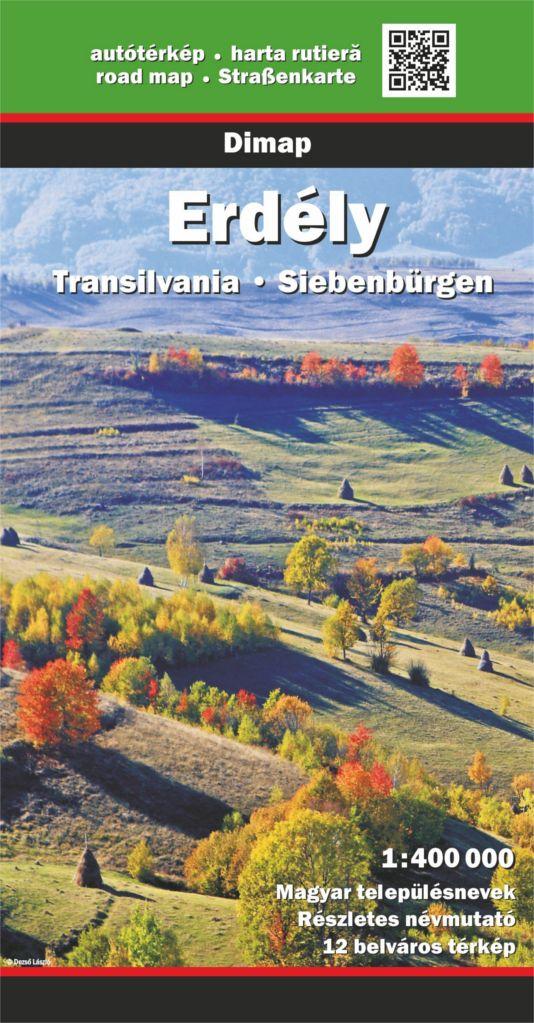 Részletes autótérkép történelmi magyar nevekkel, 12 várostérképpel és turista információkkal