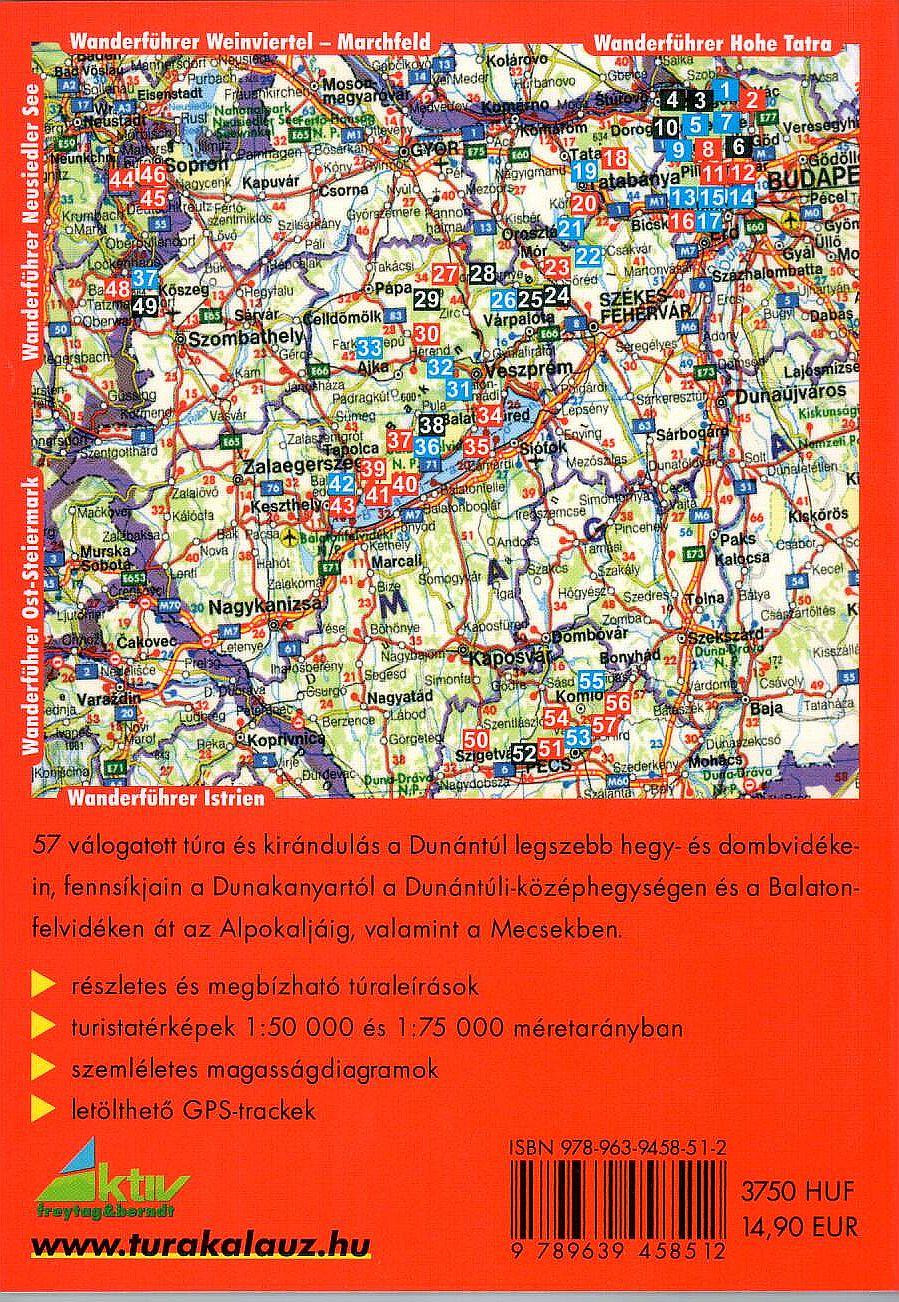 Dunántúl: 57 túraútvonal áttekintő térképe