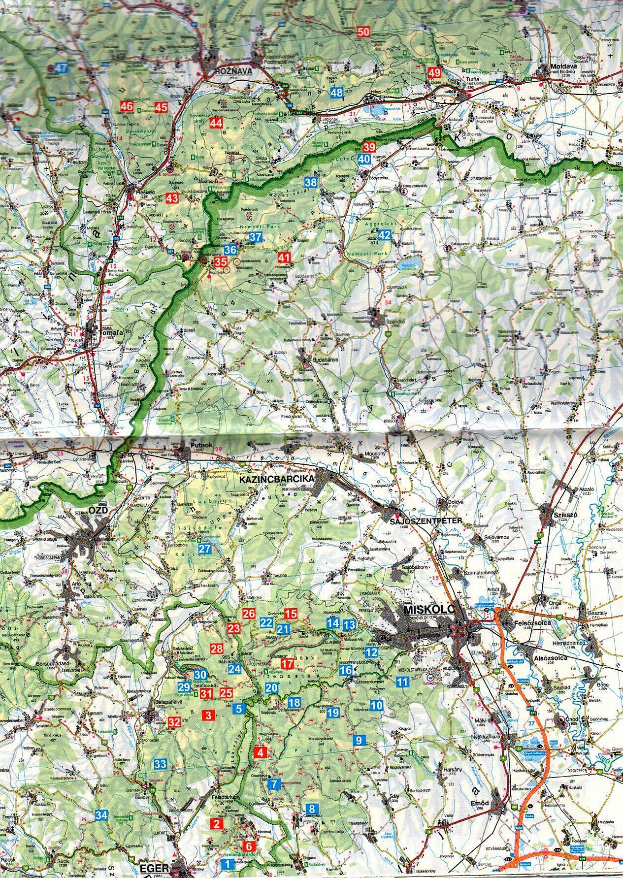 Bükk, Gömör-Tornai-karszt 50 túra áttekintőtérképe