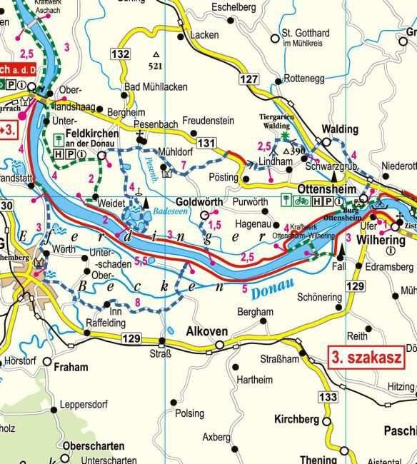 Duna-menti kerékpárút Ausztriában: mintatérkép