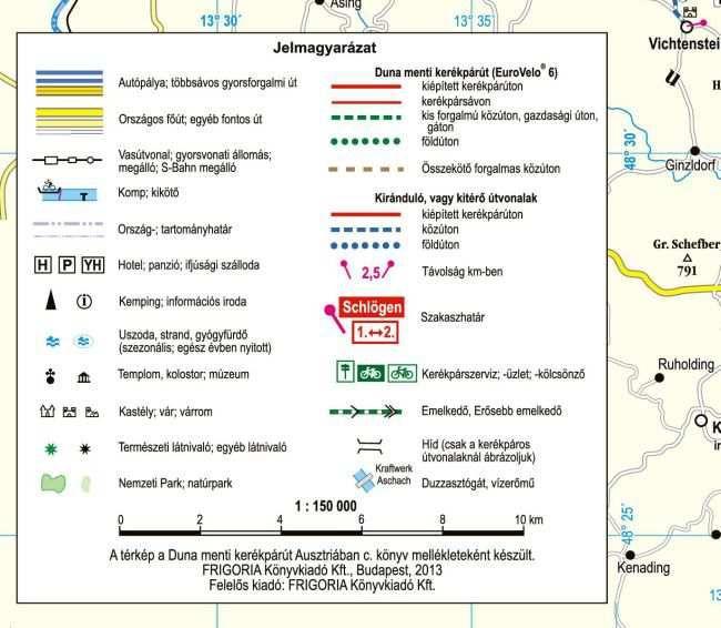 Duna-menti kerékpárút Ausztriában: jelmagyarázat részlete