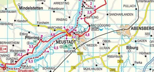 Duna-menti kerékpárút Németországban: térkép minta