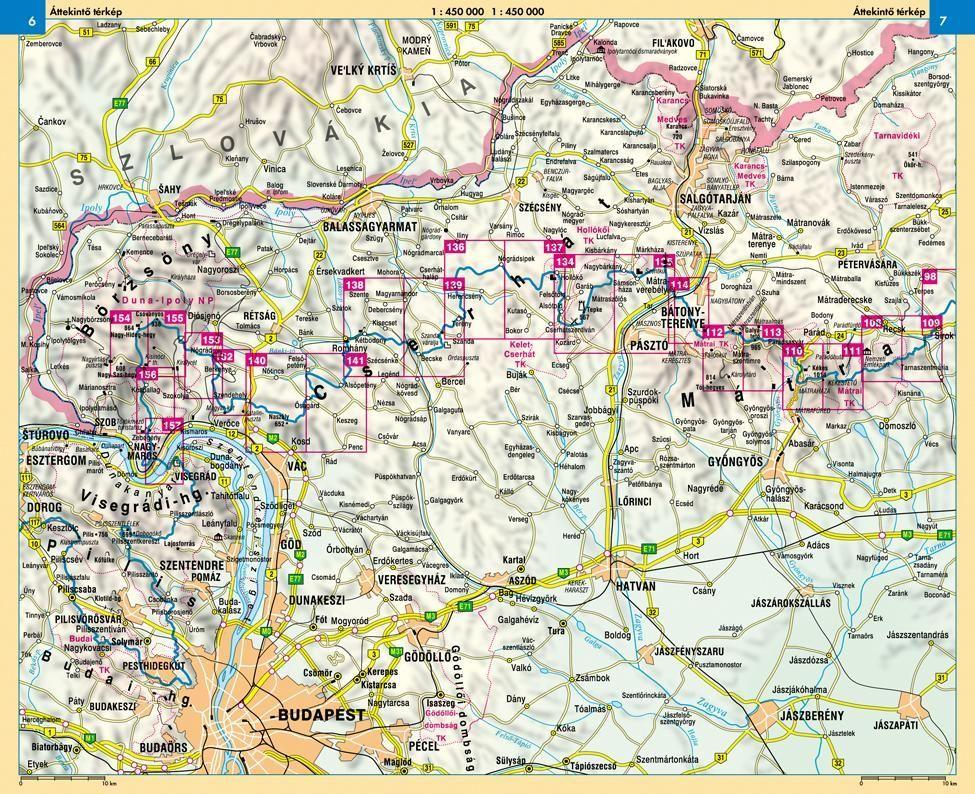 Kéktúra I. (Északi-Középhegység): Áttekintő térkép (Nyugat)