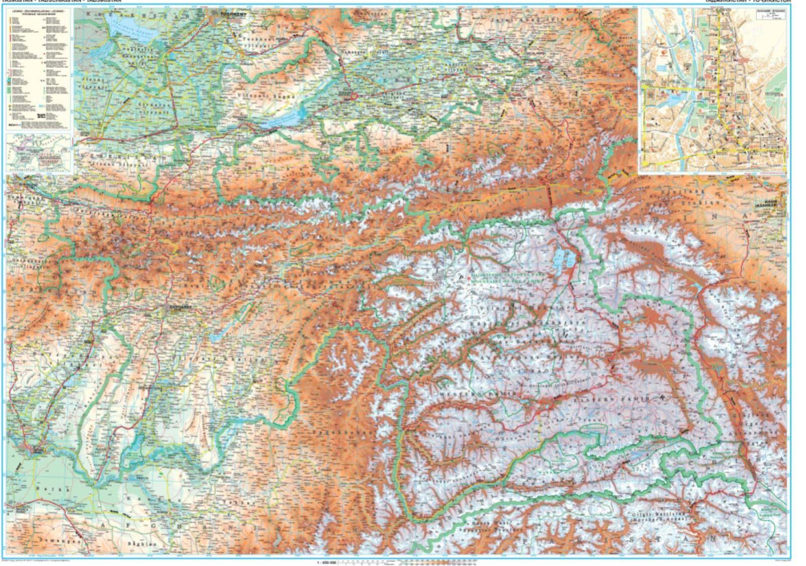 A Tadzsikisztán térkép által lefedet terület