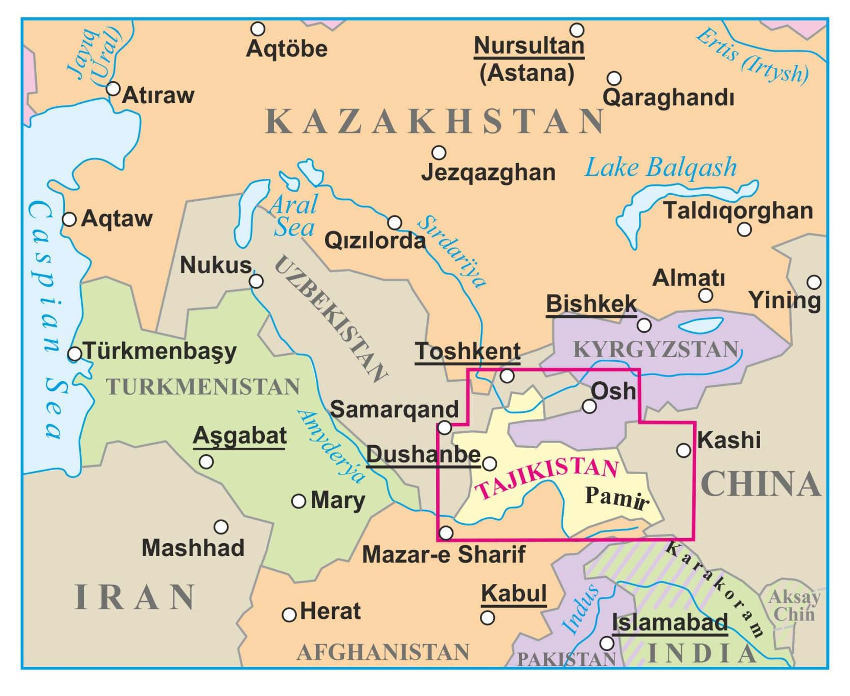 Tadzsikisztán a térképen