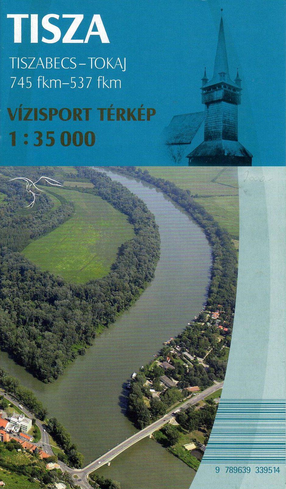 A Tisza részletes térképe az ukrán határtól Tokajig angol-német-magyar jelmagyarázatta, biciklis és szabadidő tematikávall