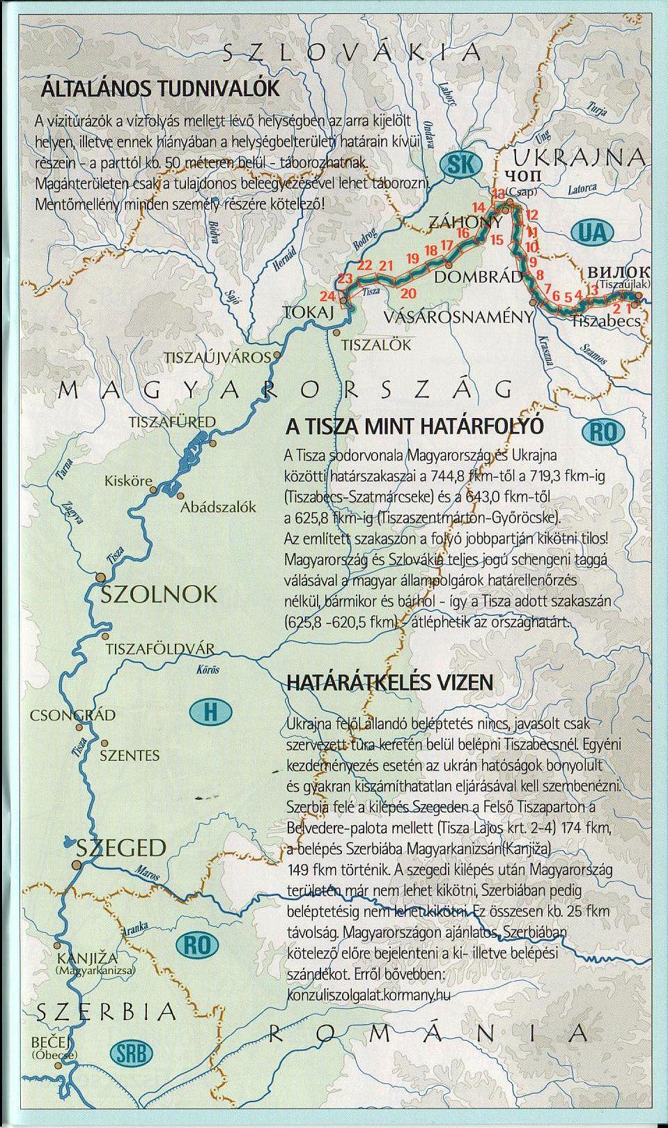 Tisza 745-537 (Tiszabecs-Tokaj): áttekintő térkép