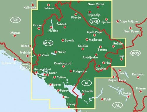 A F+B Montenegró térkép által lefedett terület