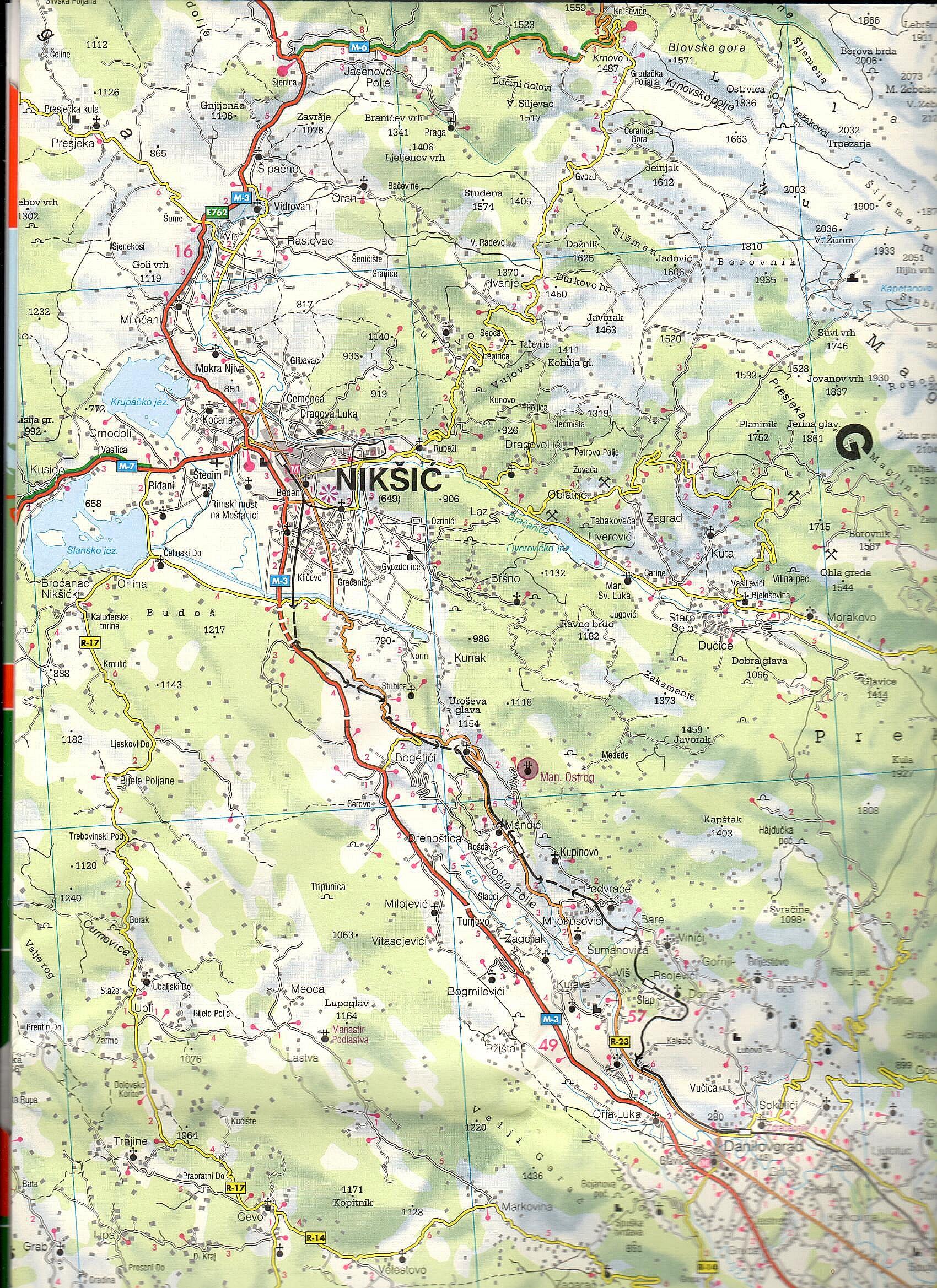 A F+B Montenegró térkép mintakivágata 1:150.000