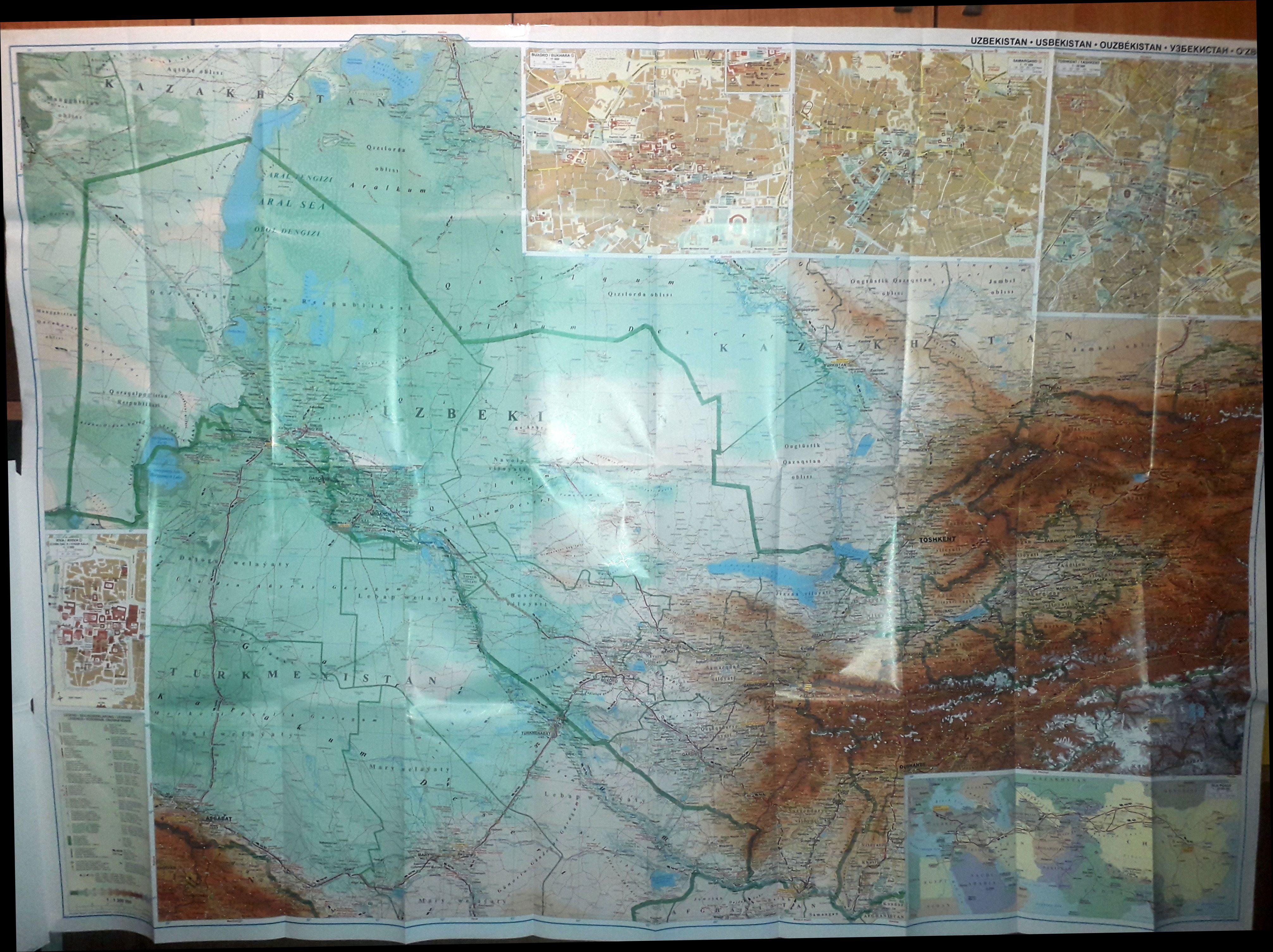 Az Üzbegisztán térkép által lefedett terület