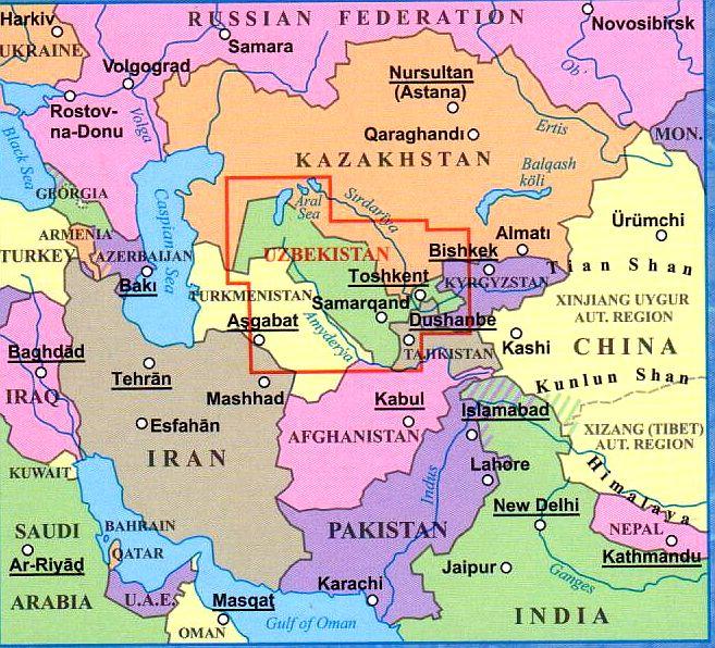 Üzbegisztán helye a térképen