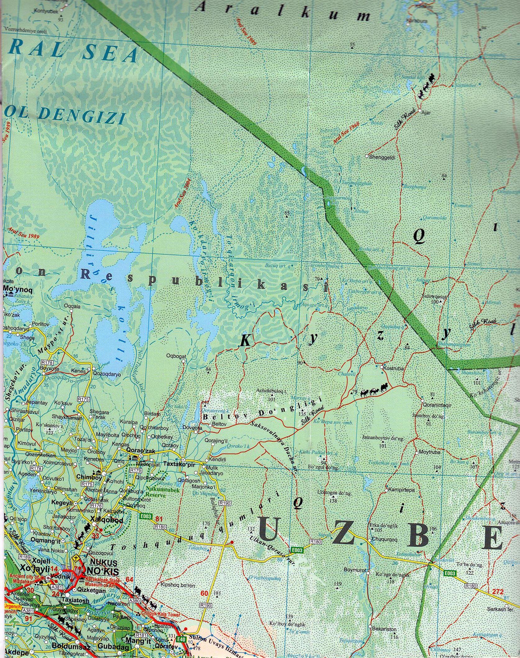 Üzbeisztán térkép mintakivágata