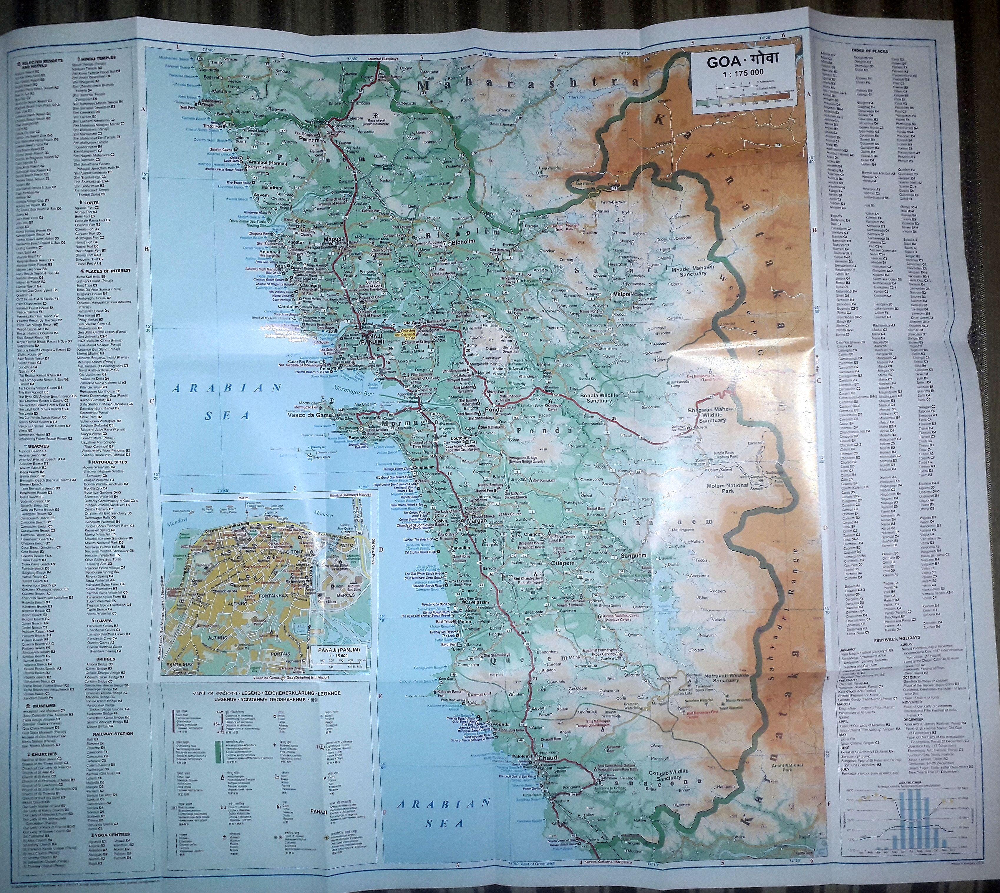 A Goa térkép által lefedett terület