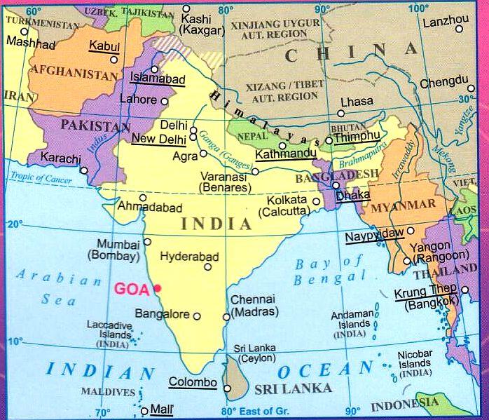 Goa helye a világtérképen
