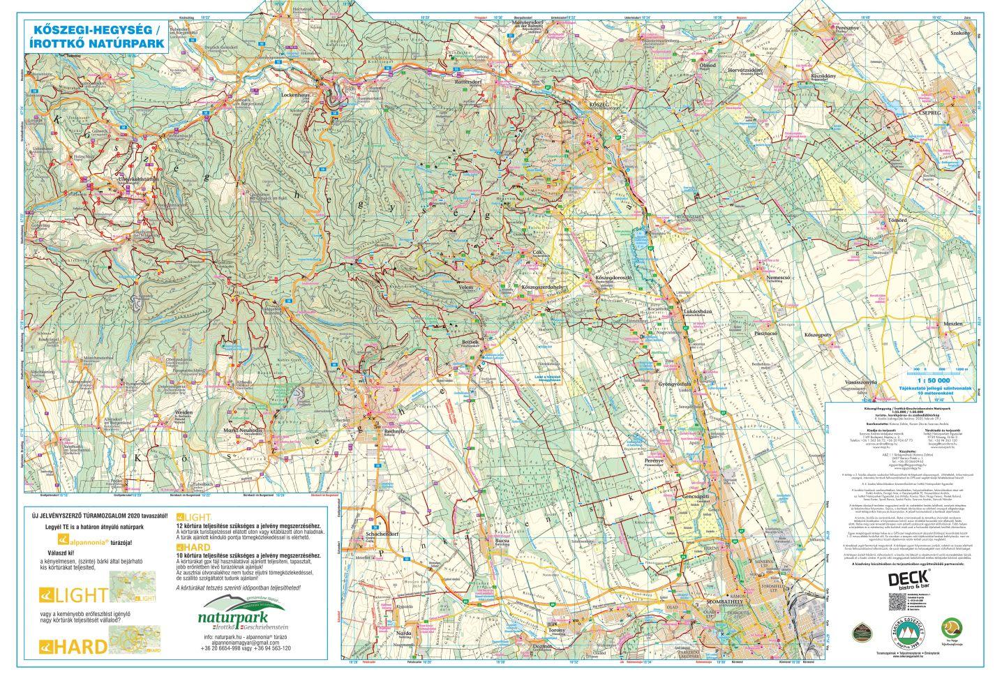 A Kőszegi-hg/Írottkő natúrpark 1:50e térkép által lefedett terület