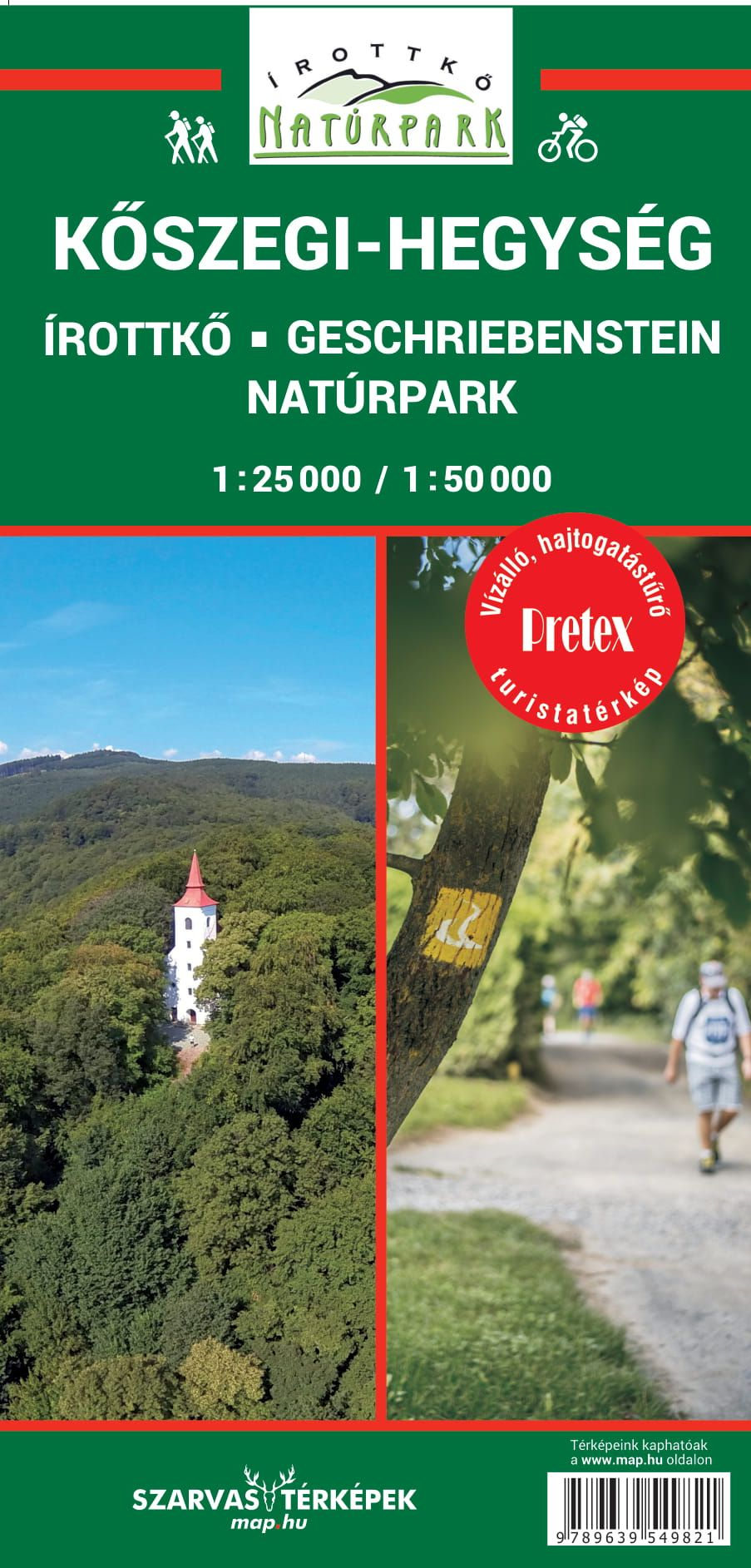 A térkép ábrázolja az Írotkő/Geschriebenstein natúrparkterületét is.