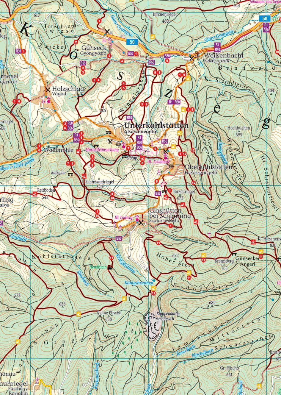Kőszegi-hg/Írottkő natúrpark 1:50.000 mintakivágat