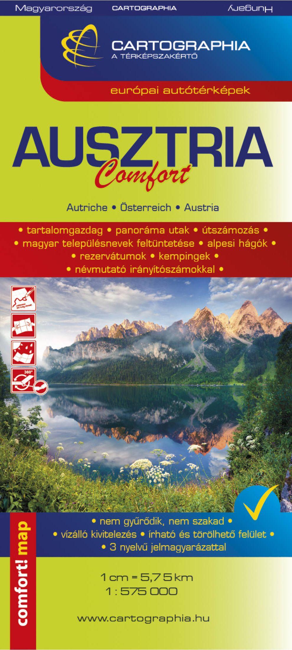 Ausztria comfort (Cartographia) - laminált, könnyen hajtogatható és vízhatlan autótérkép