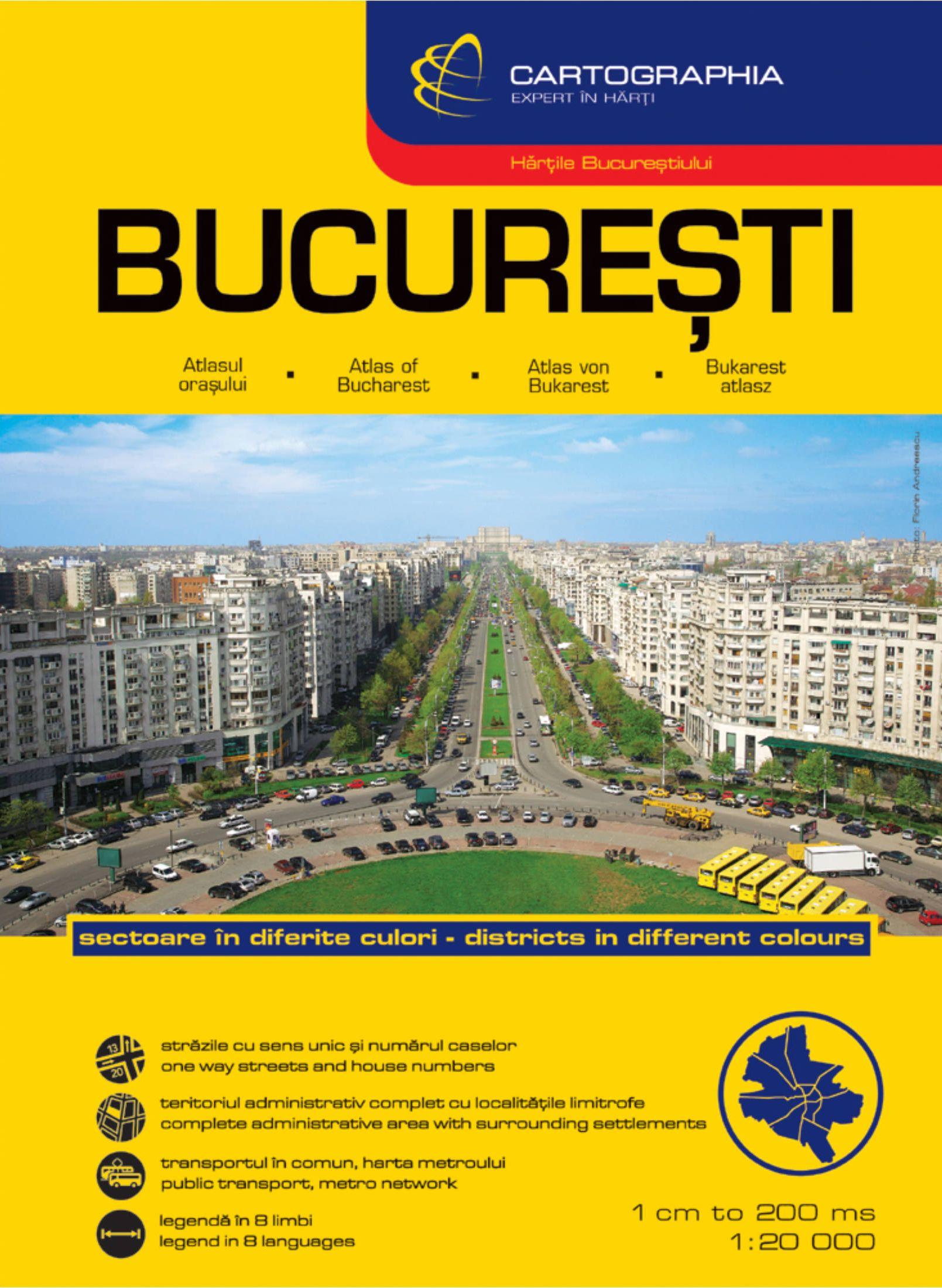 Bukarest városaatlasz 1:20.000 komplett utcajegyzékkel, nevezetességekkel és többnyelvű jelmagyarázattal