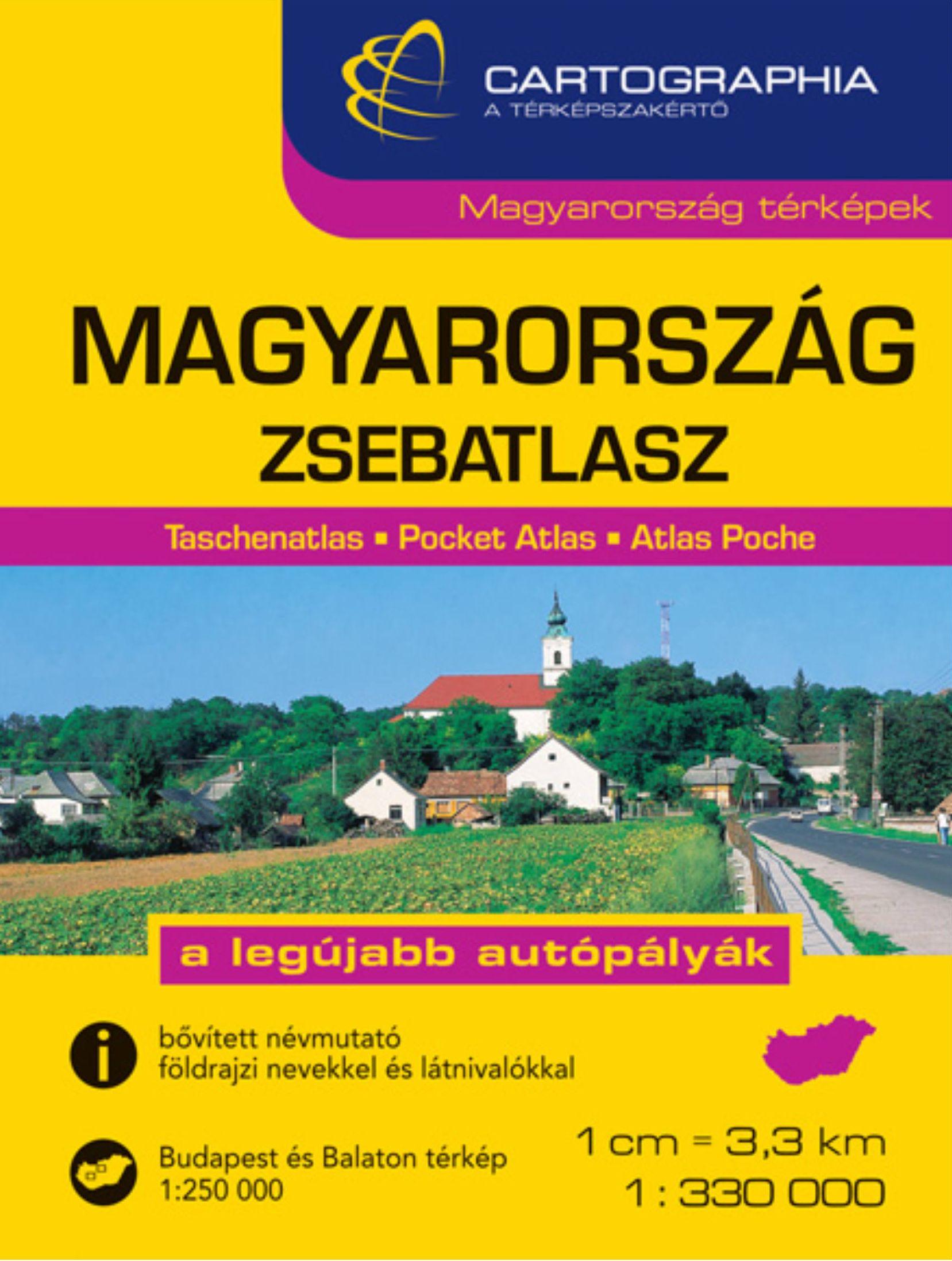 Magyarország zsebatlasza (Cartographia) település- és nevezetességjegyzékkel