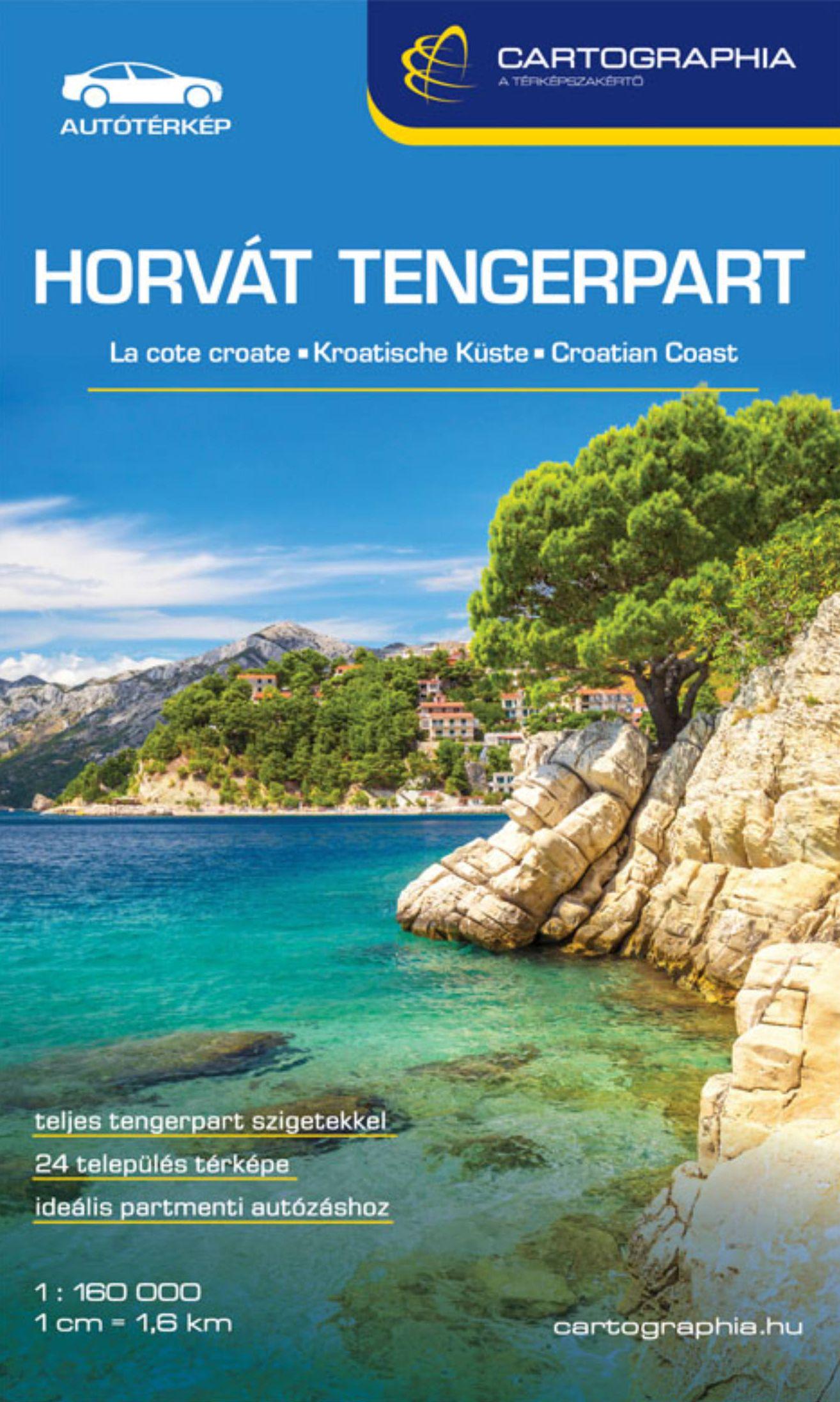 Horvát tengerpart - Adria részletes autós-turistatérképe várostérképekkel, névmutatóval