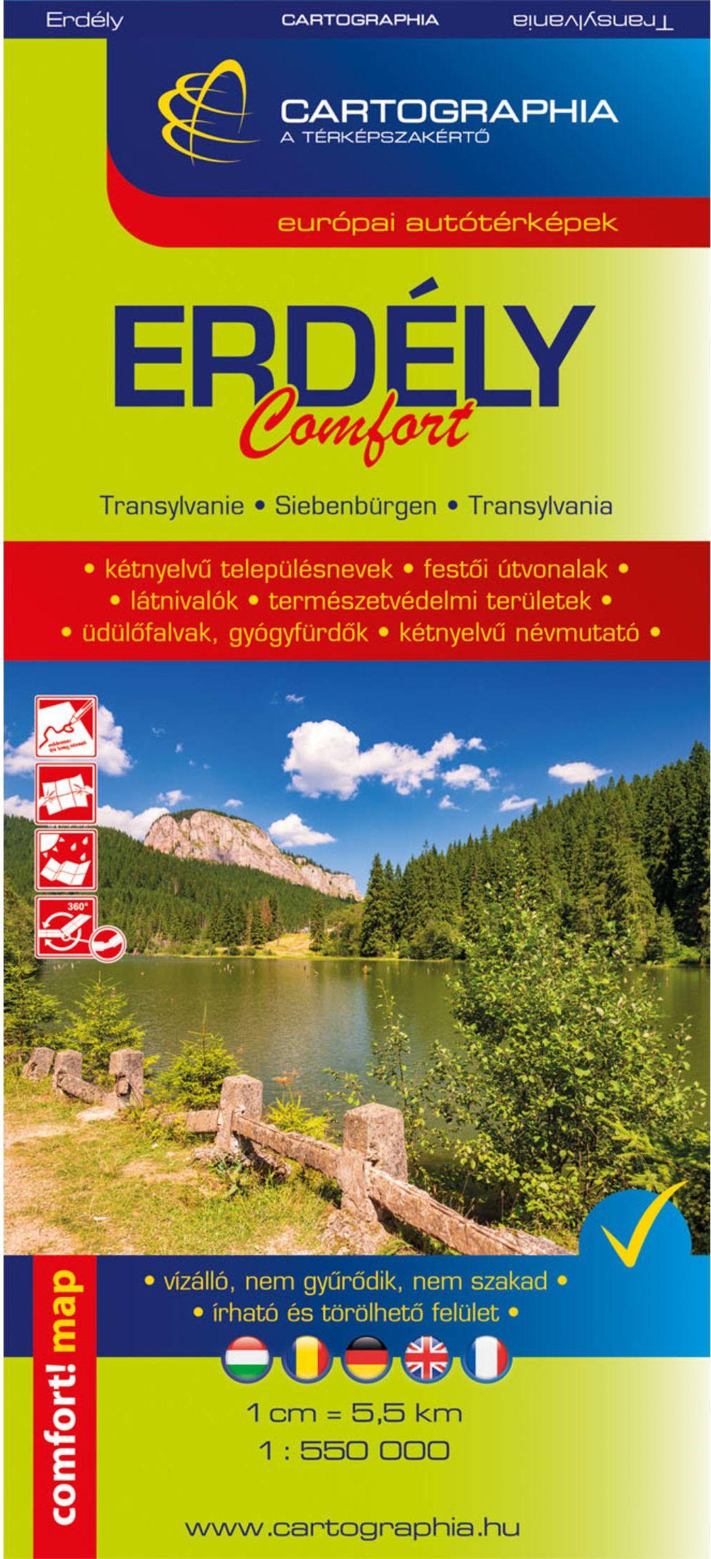 Laminált Erdély comfort turista információs térkép (vízhatlan, hajtogatás tűrő)
