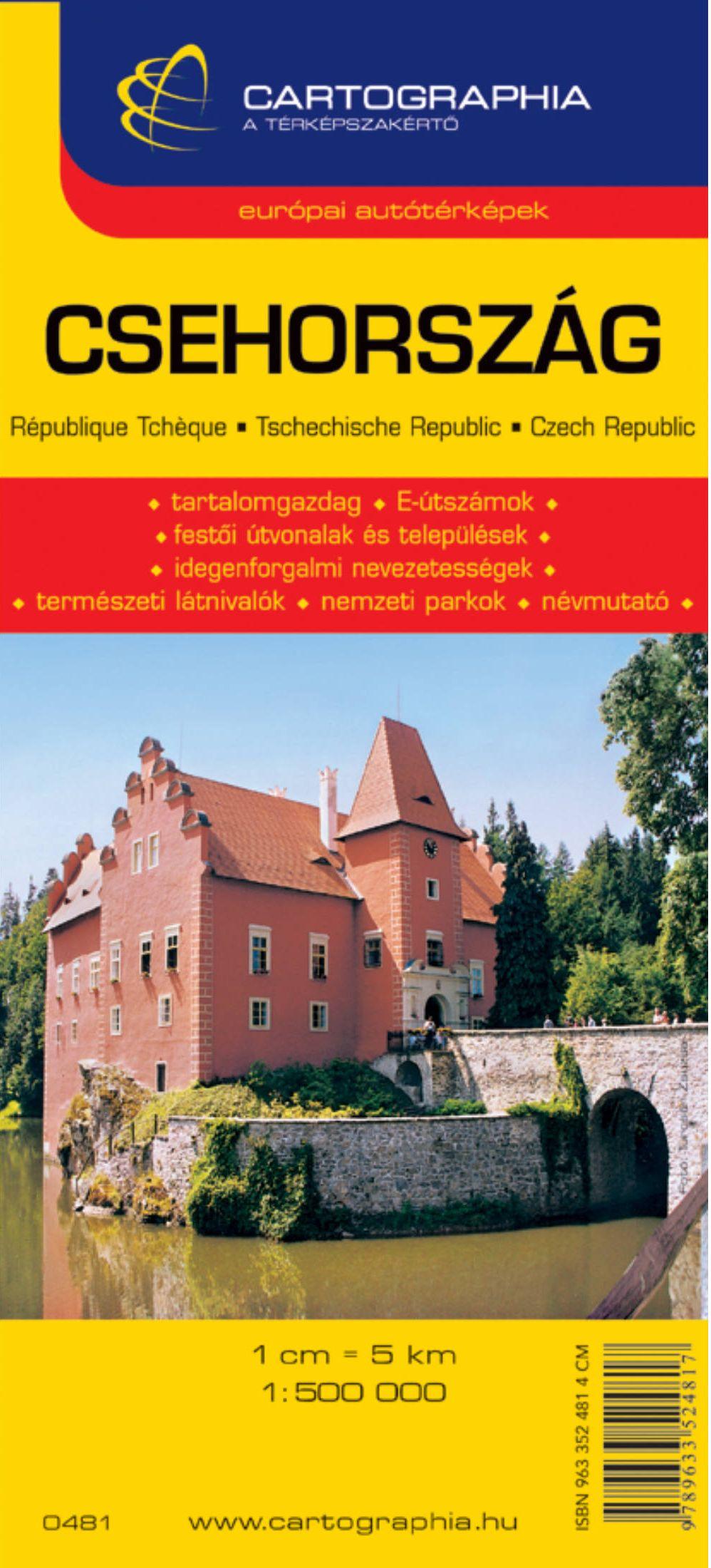 Csehország autótérképe turista információkkal, névmutatóval