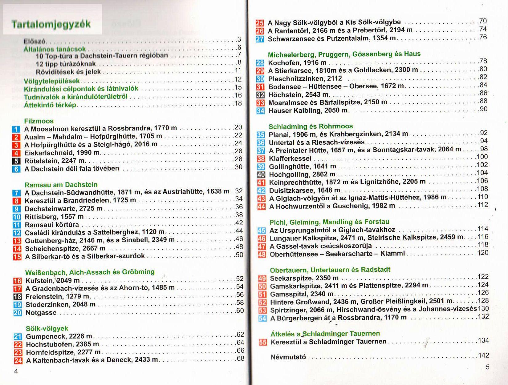 A Dachstein-Tauern tartalomjegyzéke