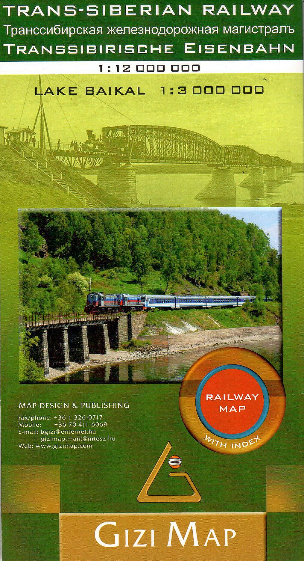 Transzszibériai vasútvonal és mellékágainak turista-információs térképe Bajkál melléktérképpel és névmutatóval