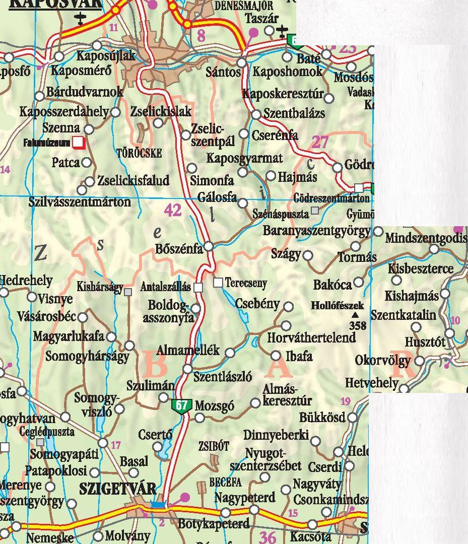 A Zselic térkép által lefedett terület
