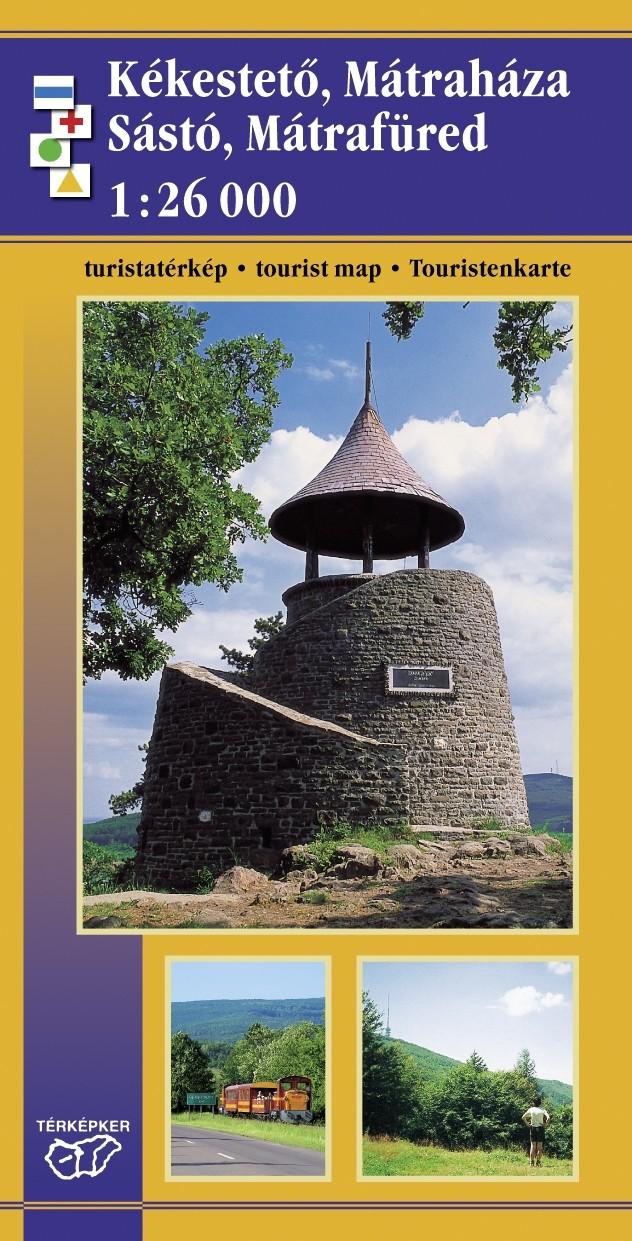 Kékestető, Mátraháza, Sástó, Mátrafüred kisméretű turistatérkép fényképes szállásajánlatokkal, túrautakkal