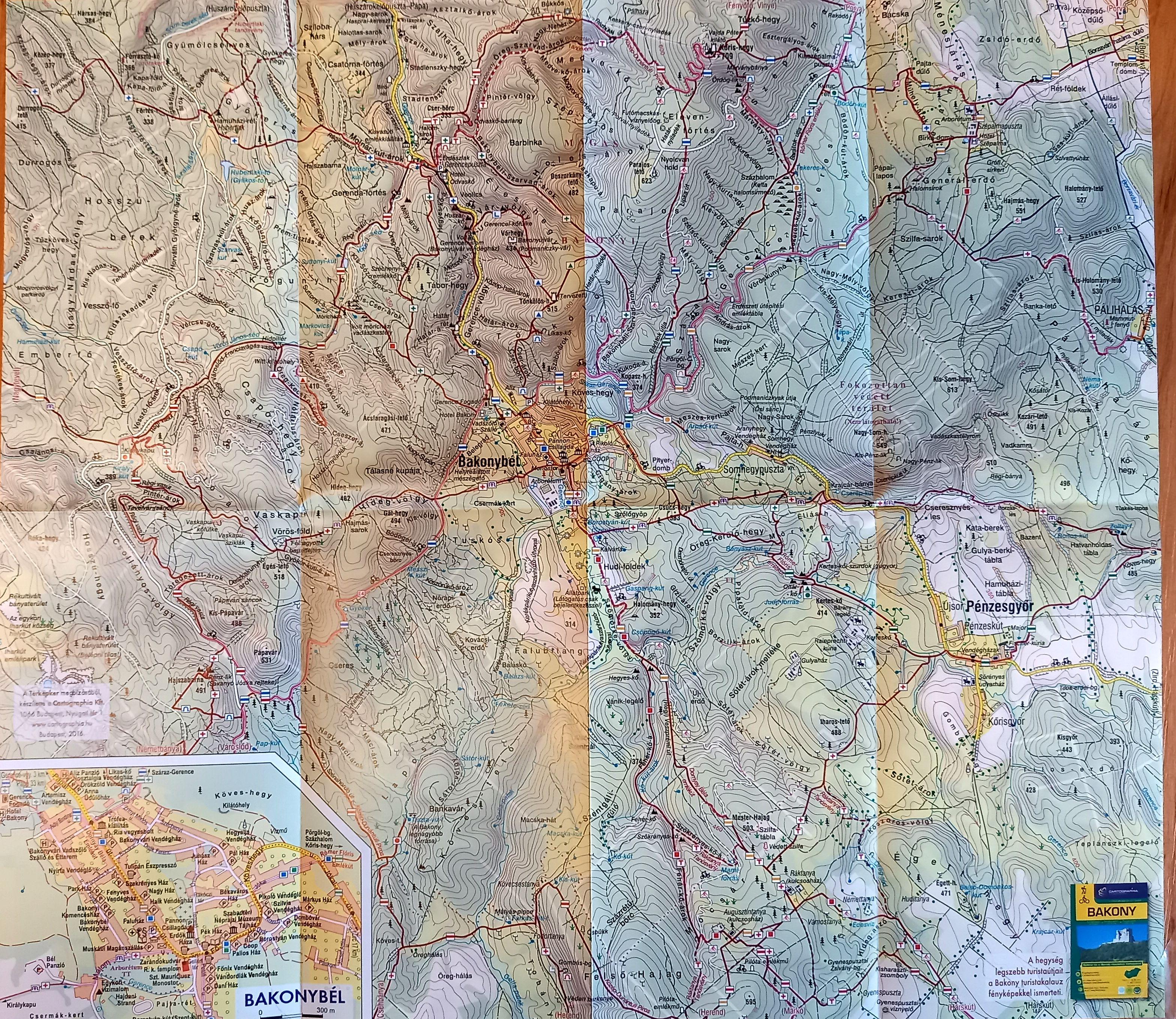 A bakonybél és környéke térkép által lefedett terület