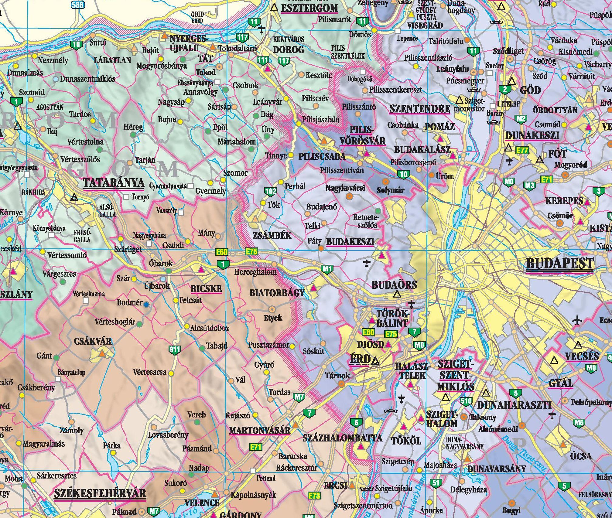 Magyarország közigazgatási térképe (Budapest környéke)