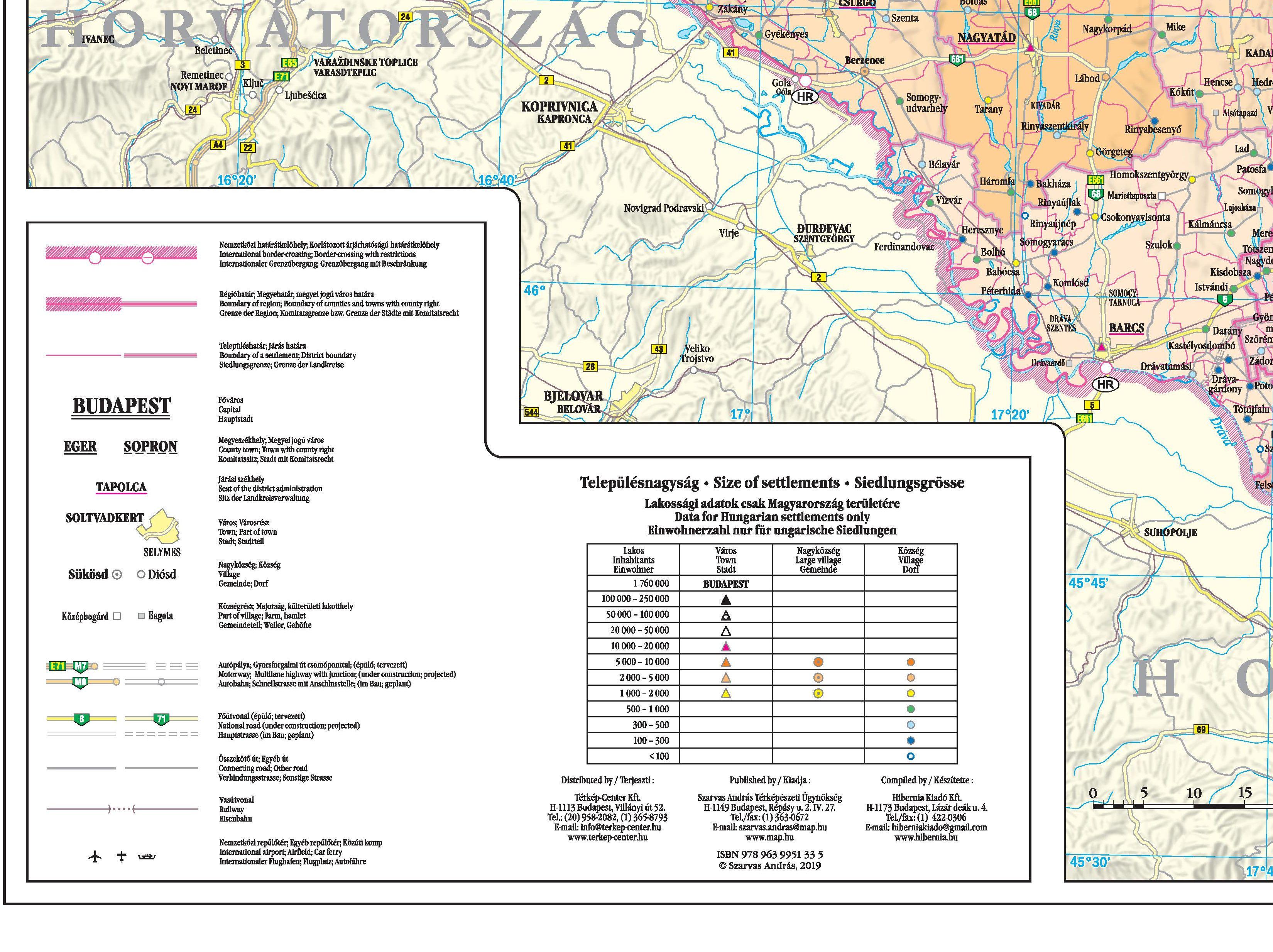 Magyarország közigazgatási térképe: jelmagyarázat