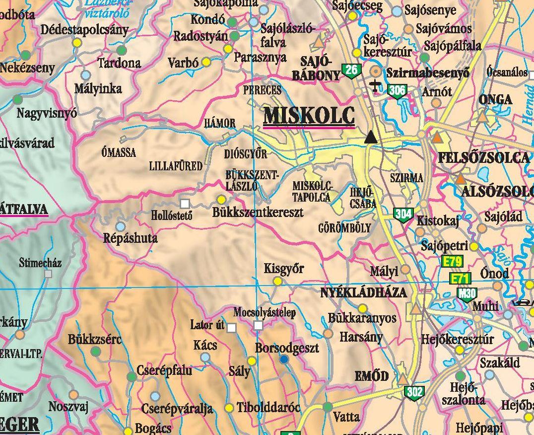 Magyarország közigazgatási térképe (Miskolc környéke)