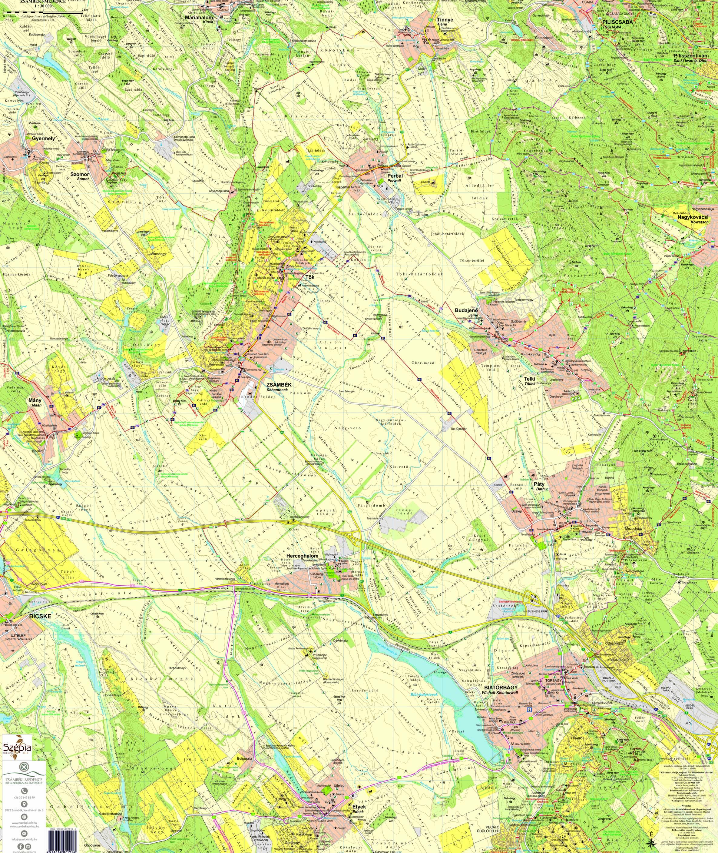 A Zsámbéki-medence 1:30.000 térkép által lfedett terület