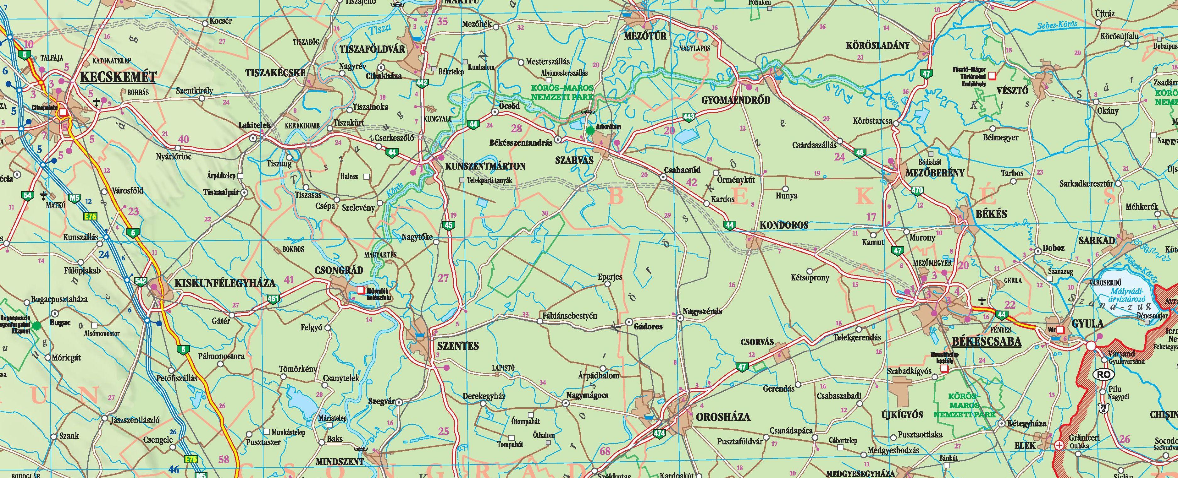 Magyarország autótérképe mintakivágat