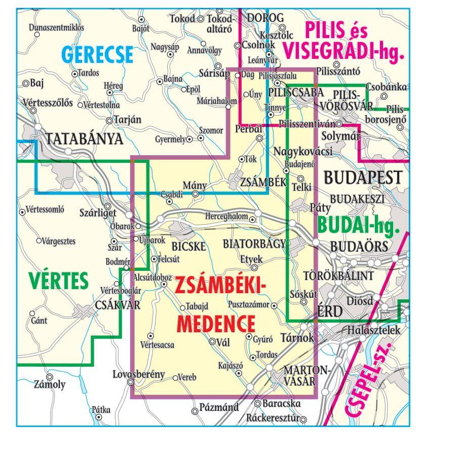 Zsámbéki-medence/Etyeki-dombság áttekintő térkép