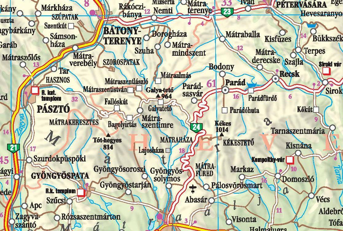 A Mátra térkép által lefedet terület
