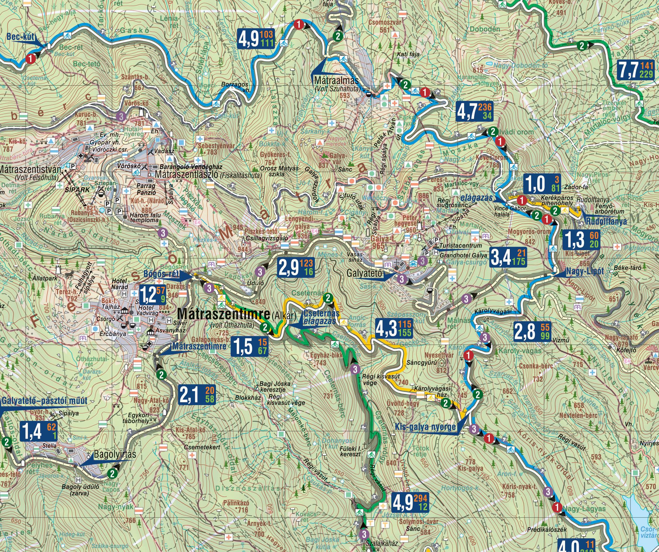 A Mátra biciklis térkép mintakivágata