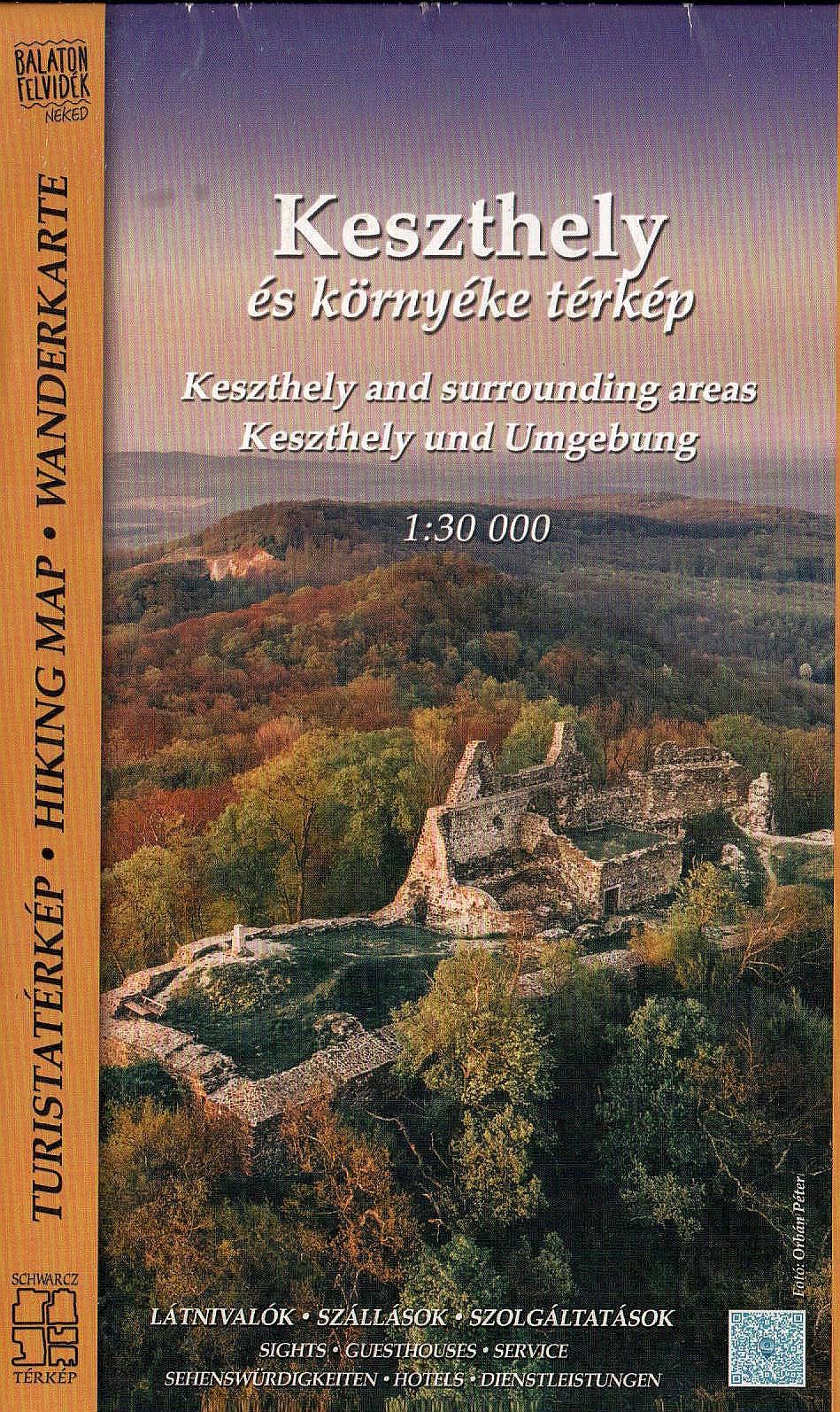Keszthelyi-hegység, Keszthely és Hévíz környéke részletes turista- és biciklis térkép szállás és program ajánlatokkal