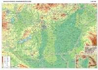 126 x90 cm, részletes hegy-vízrajzi nevekkel, tájékoztató jellegű úthálózattal írható-letörölhető műanyag borítással keretezve